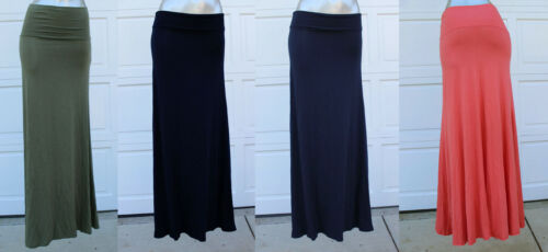 Big Layer Banded Waist Beach Casual Foldover Plain Long Maxi Full Skirt S//M//L