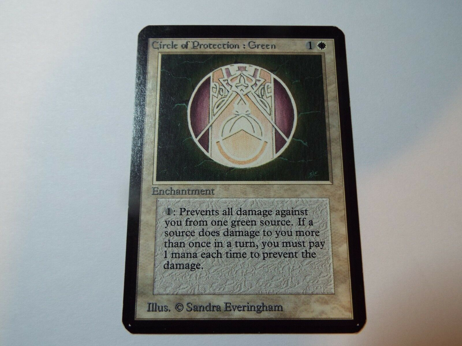 MAGIC THE GATHERING ALPHA WHITE COMMON CIRCLE OF OF OF PredECTION  GREEN, ex bd4dc4