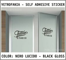 """TATTOO STUDIO"" SCRITTA NERA ADESIVA - VETROFANIA, BLACK SELF-ADHESIVE STICKER"