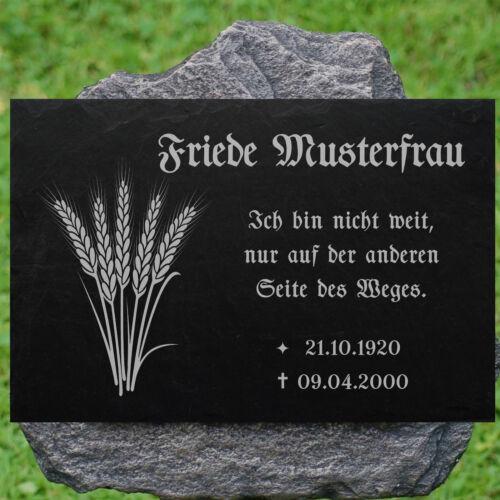 Grabstein GRABPLATTE Grabmal Ähren 01►Gravur mit Inschrift Motiv◄ 40 x 25 cm