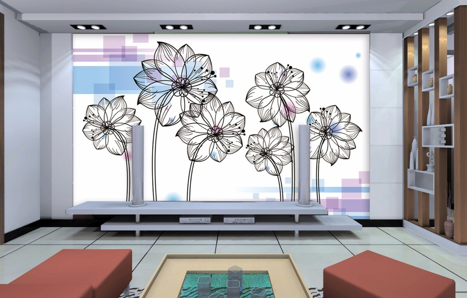 3D White flowers 3878 Wall Paper Print Wall Decal Deco Indoor Wall Murals