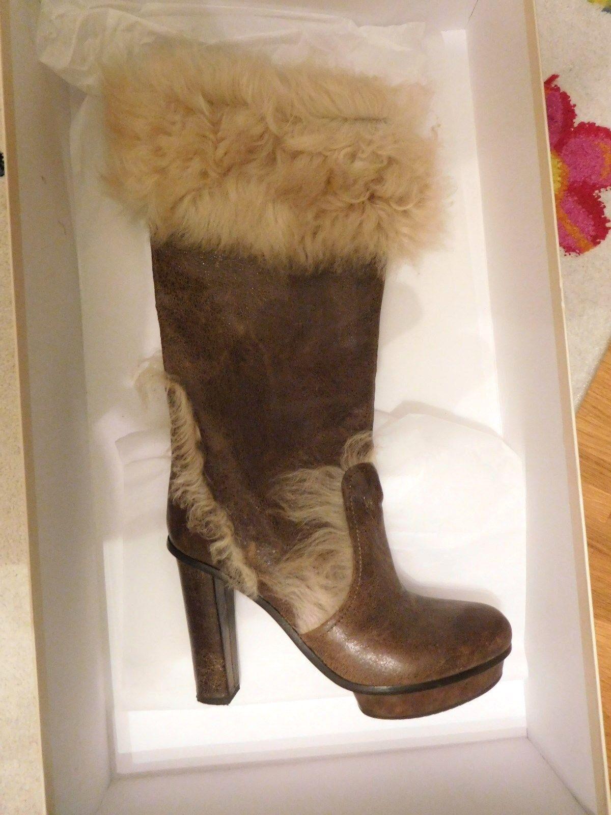 Sehr Stiefel hochwertige Designer Stiefel Sehr von BOSS ORANGE gr.39 Open Braun YOLANDE=w.NEU 981c63