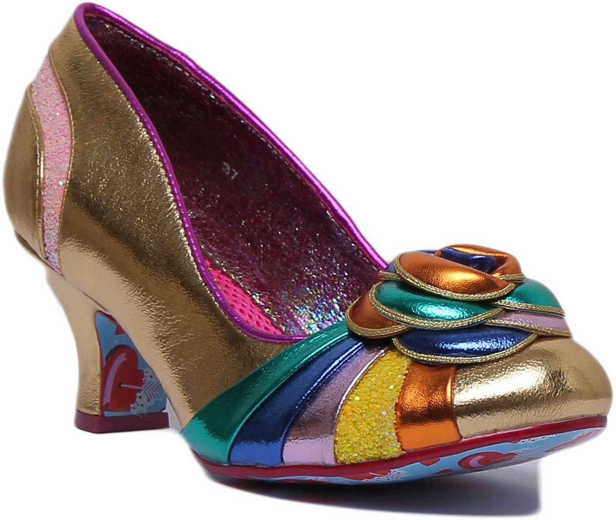 Irregular Choice Stupenda Synthetic gold Multi Court shoes UK Size 3 - 8