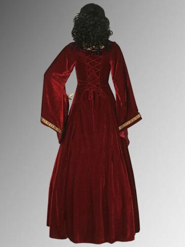 Renaissance Medieval Gown with Shoulder Cape over Dress Handmade from Velvet