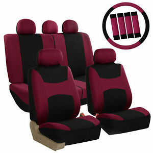 Car-Seat-Covers-for-Auto-Full-Set-Burgundy-w-Steering-Wheel-Belt-Pad-5Head-Rest