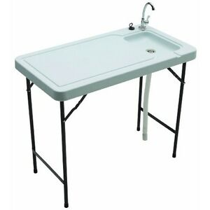 Folding Tables W Sink Basin Faucet Cleaning Table Camping