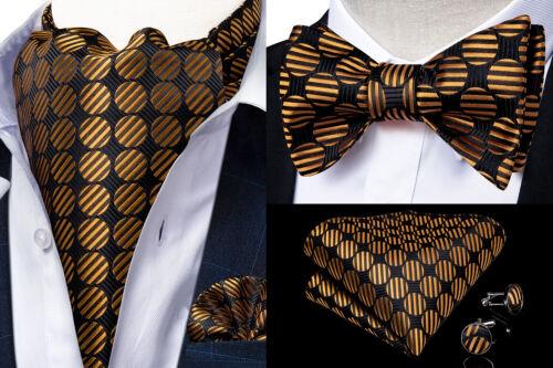 Mens Silk Ascot Cravat Bow Tie Paisley Plaids Self Bowtie Hanky Cufflinks Set