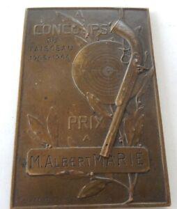 Plaque-CONCOURS-du-FAISCEAU-1905-1906-TIRS-Gastinne-RENETTE-BOUVAL-Bronze