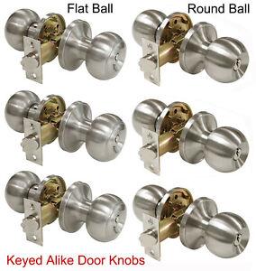3 Fairfield Entry Door Knobs with Deadbolts in Satin Nickel Finish Keyed Alike