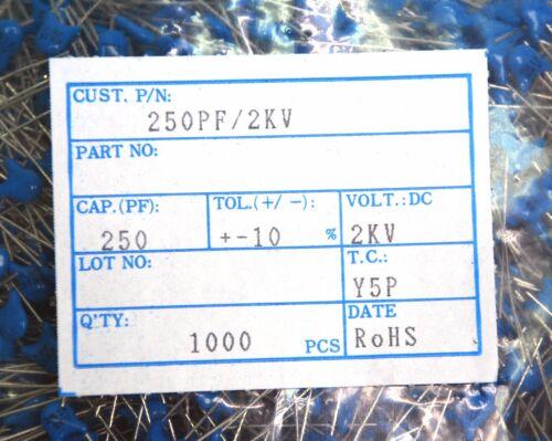 100pc Disc Ceramic Capacitor 250pF 2KV K ±10/% Y5P pitch=5mm RoHS Taiwan Blue *