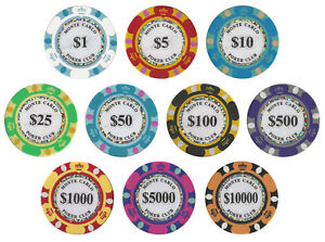 New Monte Carlo 14g Clay Poker Chips Sample Set - 10 Denominations