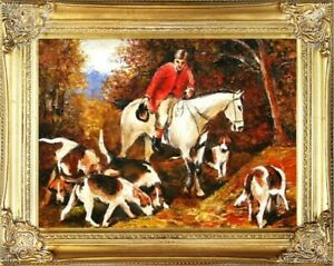 Painting-Oil-Frame-Baroque-Pictures-Hunting-G02266