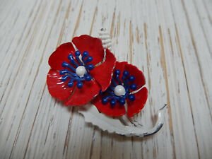 Details about Vintage Enamel Poppy Pin Ladies Brooch Red White and Blue  Flowers Retro Jewelry