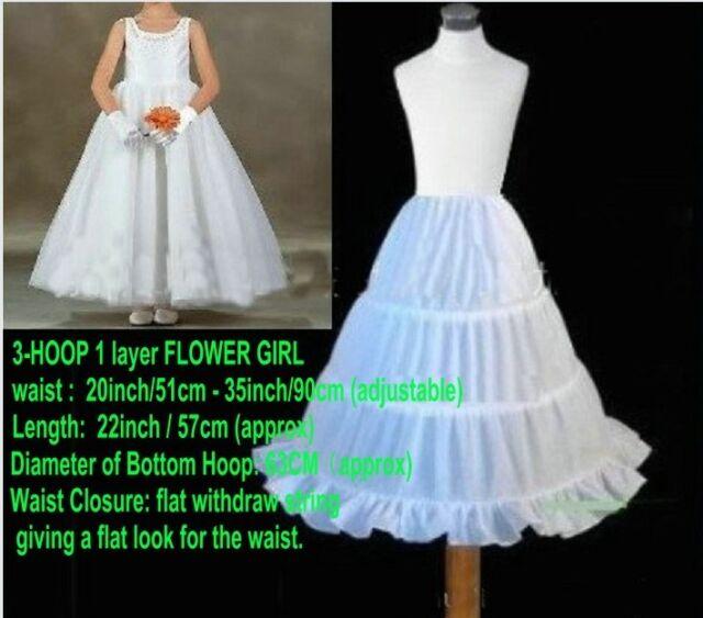 WHITE FLOWER GIRL BRIDAL GOWN DRESS SHORT PETTICOAT UNDERSKIRT CRINOLINE SKIRT