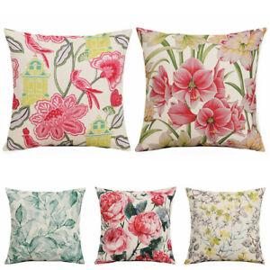 Cotton-Linen-Flower-Pillow-Case-Sofa-Waist-Cushion-Cover-18inch-Home-Decor