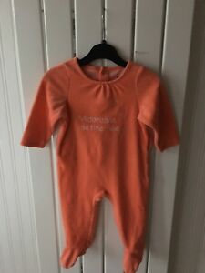 Baby-Girl-039-s-Clothes-9-12-Months-Peach-Velour-One-Piece-Outfit-By-Vertbaudet