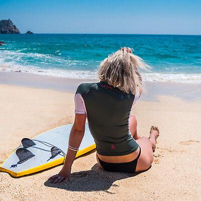 Eytino Damen Rashguard Lang/ärmeliger Rei/ßverschluss UV-Schutz Farbblock S-3XL Surfing Bademode Tops