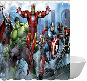 Avengers Superhero Bathroom Shower Curtain Set 3D Printed ...