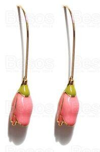 VINTAGE INSPIRED ENAMEL ROSES designer drop earrings GIFT UK pink flower rose