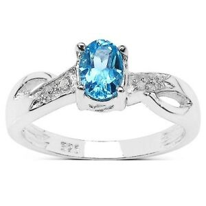 STERLING-SILVER-BLUE-TOPAZ-amp-DIAMOND-ENGAGEMENT-RING-SIZE-HIKLMNOPQRSTUVW