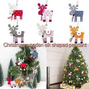 Fj-Albero-di-Natale-Legno-Alce-Renna-Ornamento-da-Appendere-Festa-Casa