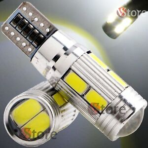2-Veilleuses-LED-T10-ampoules-10-smd-5630-HID-Canbus-5W-BLANC-ANTI-ERREUR-Lampe