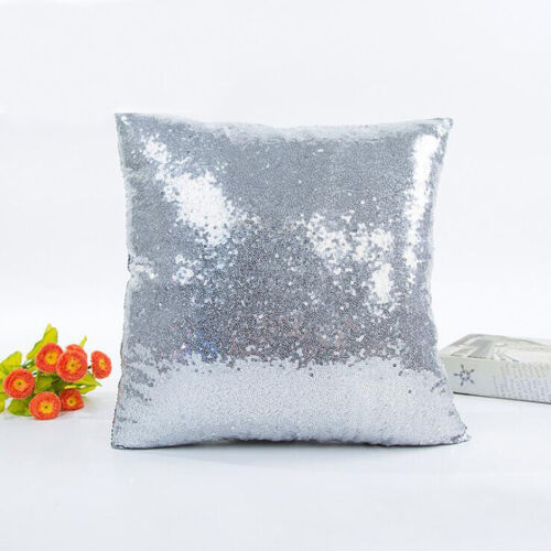 Sparkling Square Home Decoration Sequin shine pillow Cushion Cover silver 40 cm