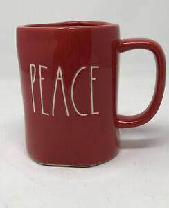 Rae-Dunn-By-Magenta-PEACE-Christmas-Red-Coffee-Mug-White-LL