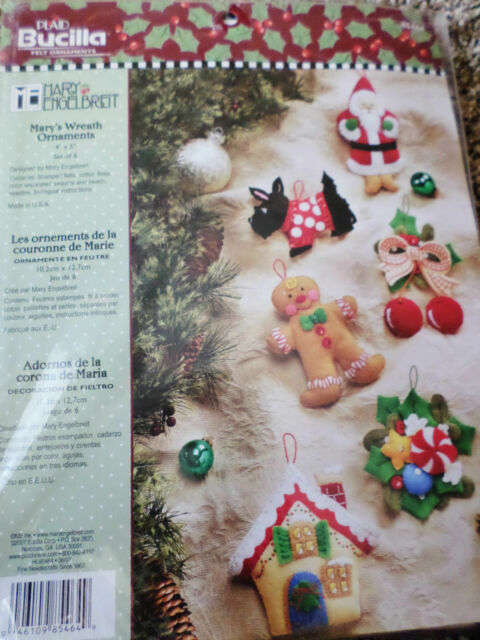 Mary's Wreath Ornaments Mary Engelbreit Bucilla Felt Christmas Kit Set 6  85464 - Mary's Wreath Ornaments Mary Engelbreit Bucilla Felt Christmas Kit
