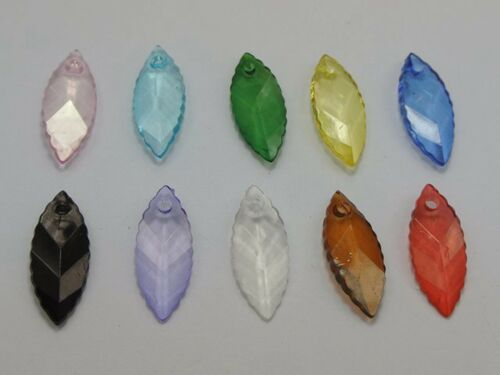 100 Mixed Color Transparent Acrylic Faceted Oval Leaf Charm Pendants 25X10mm