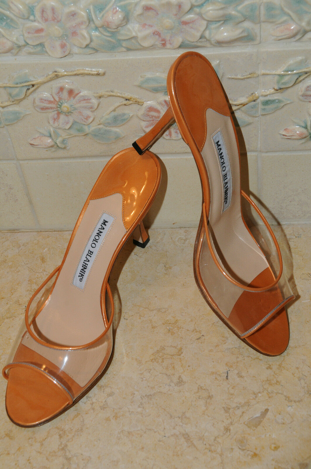 715 New MANOLO BLAHNIK orange METALLIC ASTUTA Slide SANDALS HEELS SHOES 39.5 9