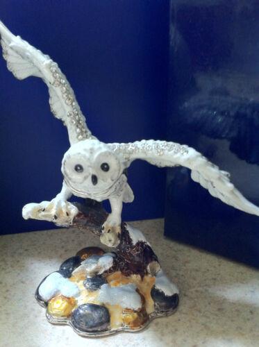 SNOWY OWL  ~ JEWELED ENAMEL TRINKET BOX ~  #3313