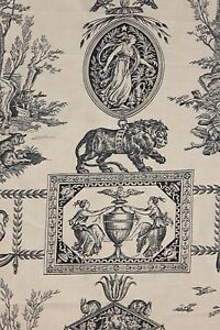 Toile de Jouy cotton fabric Vintage UNUSED French BLUE Mythological scenes