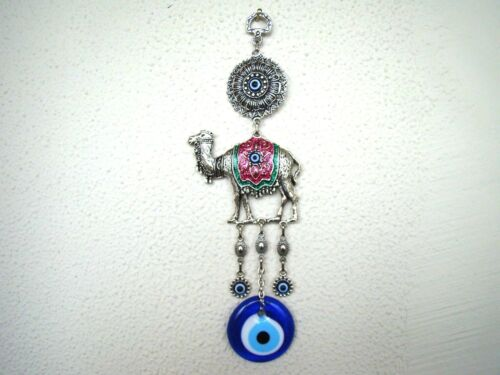 Wall Hanging Amulet Turkish Silver Plated Green Color Camel  /& Evileye  27.5 cm