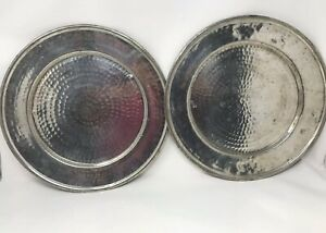 Set-of-2-Pottery-Barn-Hammered-Tin-Plate-Chargers-Made-in-Turkey-13-3-4-034-Retired