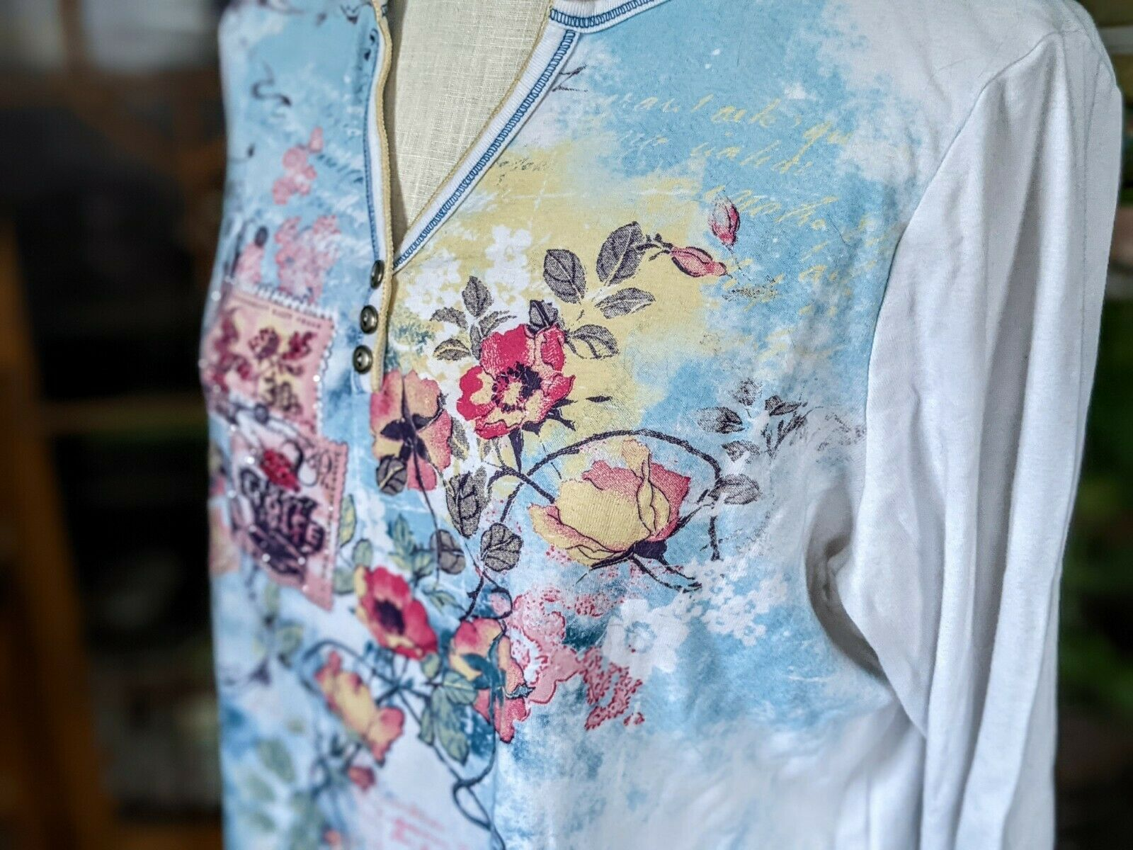 Vintage 1X Blue Canyon 3/4 Sleeve Top Floral Rhin… - image 8