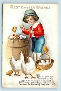 ELLEN-CLAPSADDLE-ARTIST-SIGNED-TRUE-VINTAGE-EASTER-POSTCARD-CHILD-PAINTS-EGGS