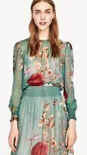 ZARA New Floral Print Flowing Midi Dress Size L Uk 12 Genuine Zara
