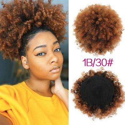 Afro Style Wig High Puff Hairstyle Bun Curl Short Curly Hair Ponytail Drawstring   eBay