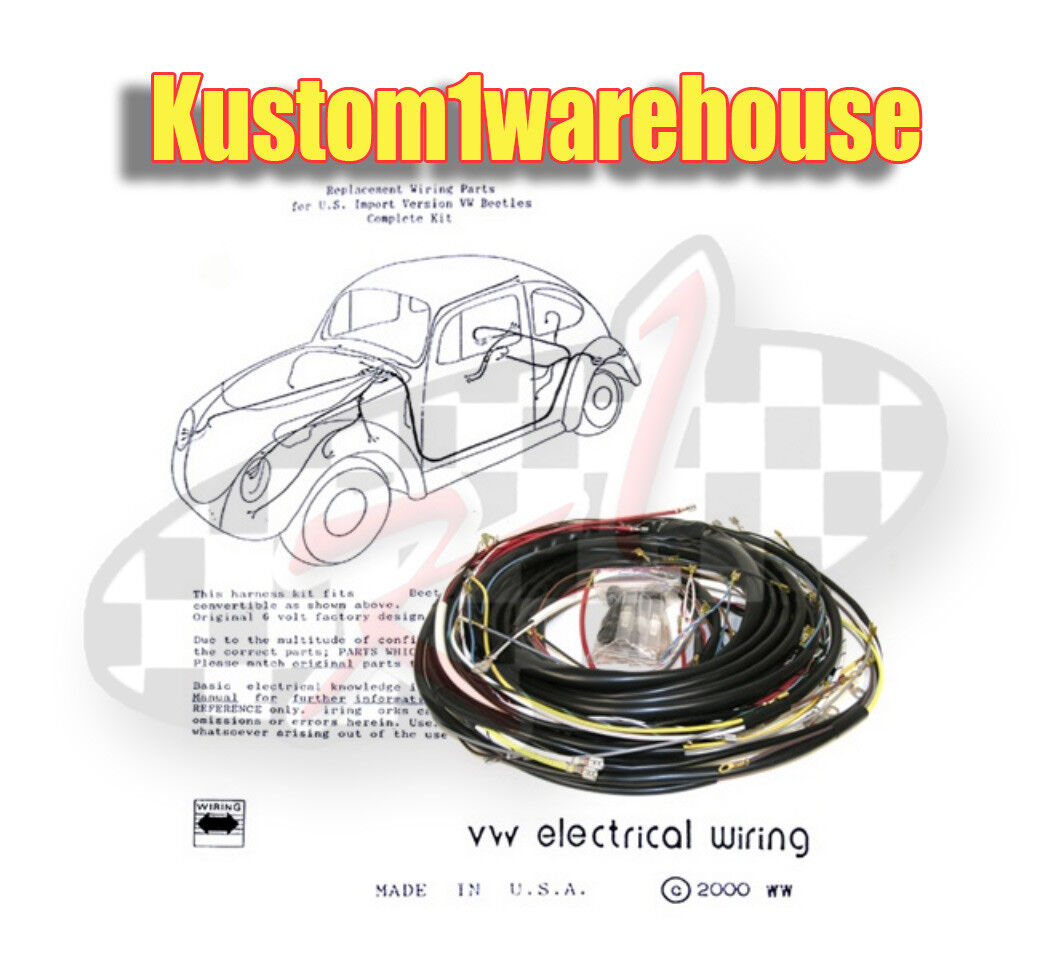 1969 VW Volkswagen tipo 1 Bug cableado completo kit de alambre arnés obras Hecho en EE. UU.