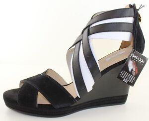 975d660021cd GEOX D Sibilla Black Suede Platform Wedge Heel Sandal Womens Shoes ...