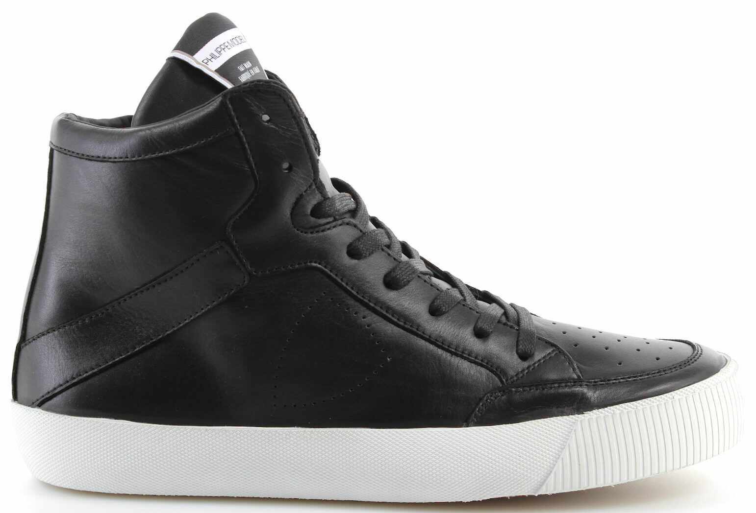 Men's Shoes Sneakers PHILIPPE MODEL Knicks Paris Knicks MODEL Veau Noir Blanc Made In Italy 3b142d