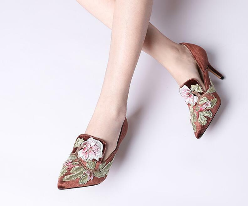 Women's Pointed Toe Sexy Stilettos Embroidery High High High Heels Floral shoes Pumps 12a6a1