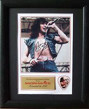 Bon Scott AC/DC Preprinted Autograph & Guitar Pick Display Mounted & Framed #2