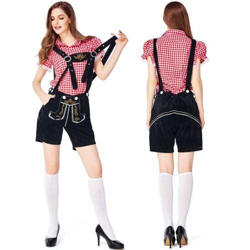 Woman Oktoberfest Lederhosen with Suspenders Costumes Set Party Cosplay Waiter