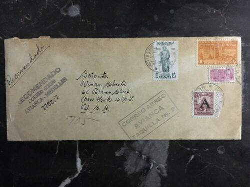 1951 Medellin Colombia Recommended Airmail Cover To New York USA