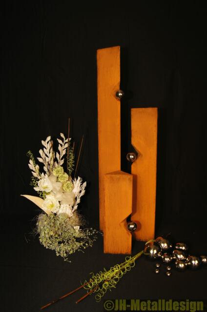 Säule Set Edelrost Mit Edelstahl   Kugeln Rost Garten Metall Design Modern
