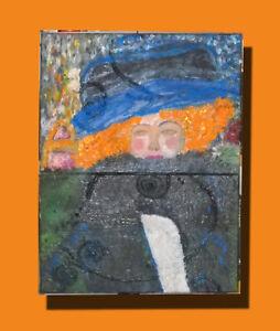 MEONI-KLIMT-donna-cappello-boa-piume-nero-blu-arancio-viso-astratto-arte