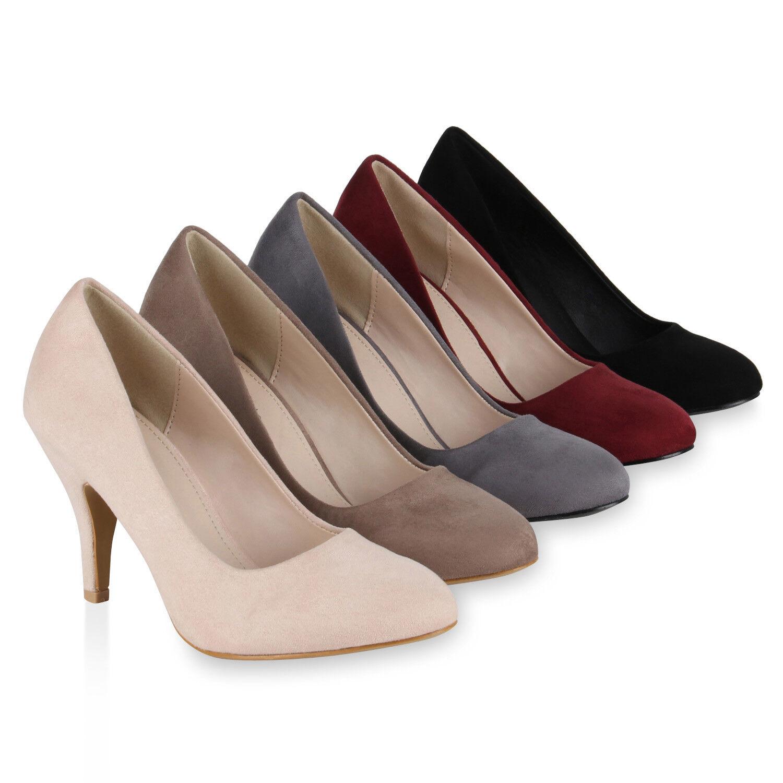 Klassische Damen Pumps Allyear Stilettos Basic Leder-Optik 819291 Schuhe