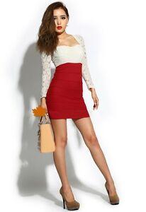 new product e9006 94810 Dettagli su vestitino miniabito vestito abito tubino donna rosso bianco  manica lunga 3276